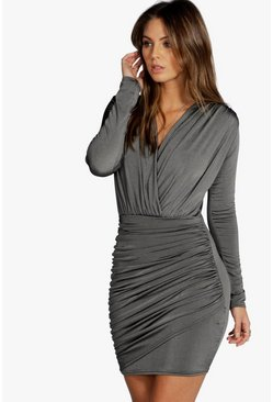 Grey Slinky Wrap Long Sleeve Bodycon Dress