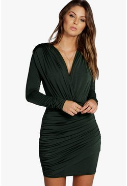 Khaki Slinky Wrap Long Sleeve Bodycon Dress