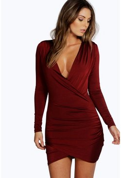 Berry red Slinky Drape Front Sleeve Bodycon Dress