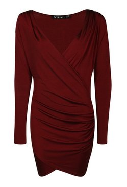 Berry Slinky Drape Front Sleeve Bodycon Dress