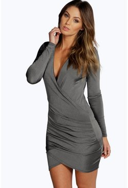 Grey Slinky Drape Front Sleeve Bodycon Dress
