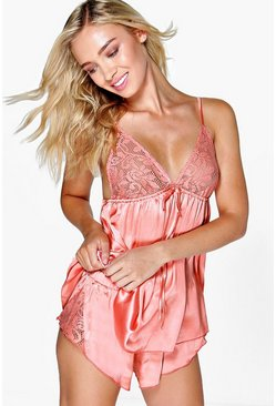 Coral pink Satin and Lace Trim PJ Short Set