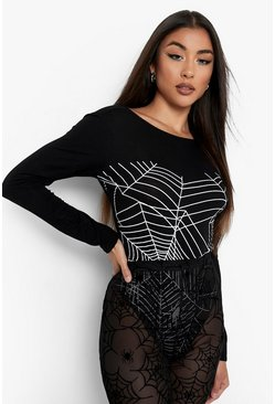 Black Halloween Glow In The Dark Spider Web Bodysuit