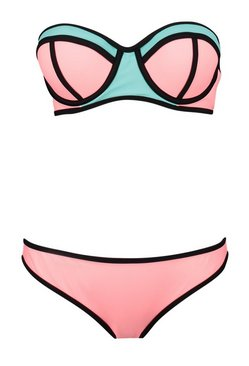 Pink Underwired Colour Block Bandeau Bikini