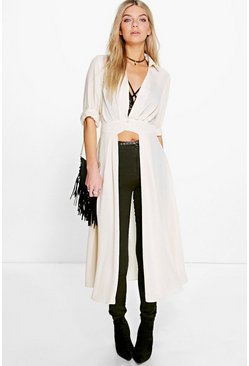 Cream white Plunge Neck Split Maxi Shirt