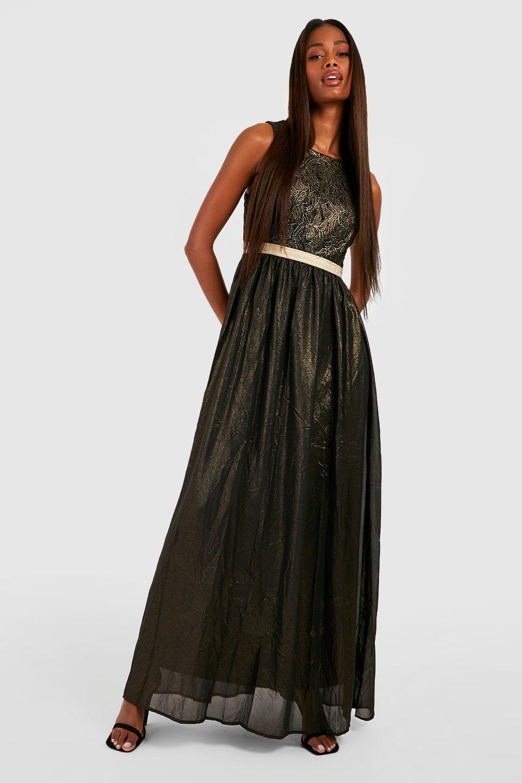 Maxi Dresses Boutique  Lace & Metallic Maxi Dress