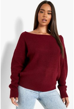 Berry Crop Slash Neck Fisherman Jumper
