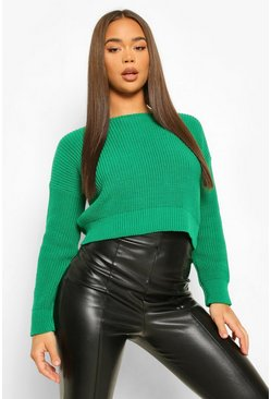 Green Crop Slash Neck Fisherman Jumper