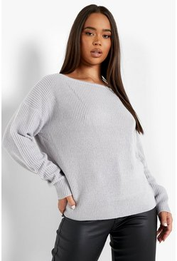 Charcoal grey Crop Slash Neck Fisherman Jumper