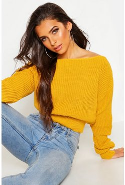 Mustard yellow Crop Slash Neck Fisherman Sweater