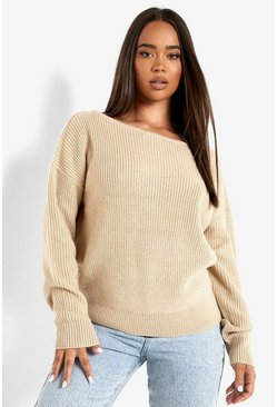 Stone beige Crop Slash Neck Fisherman Jumper