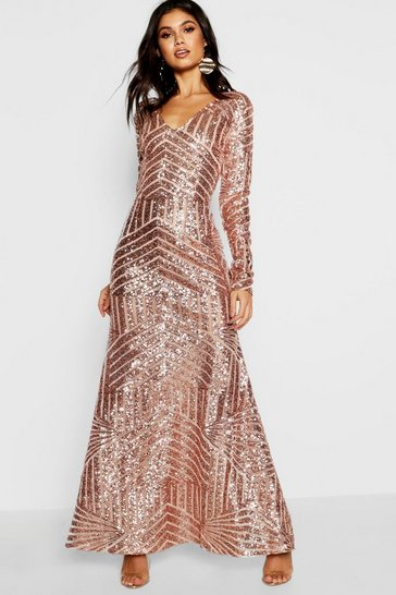Nude Boutique Sequin Long Sleeve Maxi Bridesmaid Dress