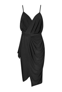 Black Wrap Over Exposed Side Detail Slinky Midi Dress