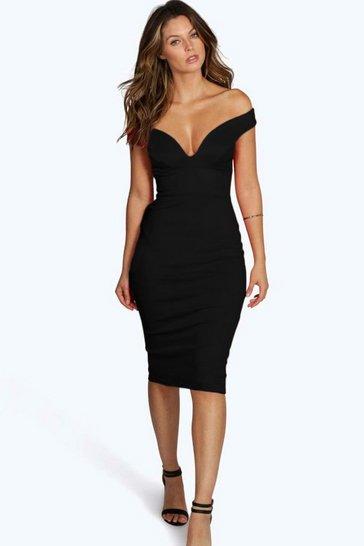 Black Sweetheart Off Shoulder Bodycon Midi Dress