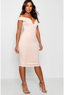 Blush pink Sweetheart Off Shoulder Bodycon Midi Dress
