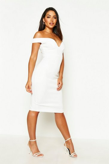 Ivory white Sweetheart Off Shoulder Bodycon Midi Dress