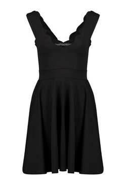 Black Scallop Plunge Skater Dress