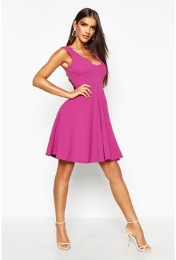 Jewel purple purple Scallop Plunge Skater Dress