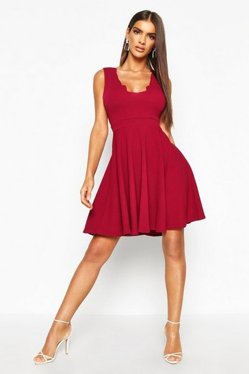 Raspberry pink Scallop Plunge Skater Dress