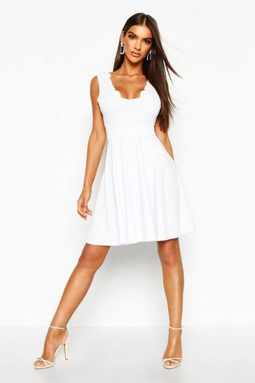 White Scallop Plunge Skater Dress