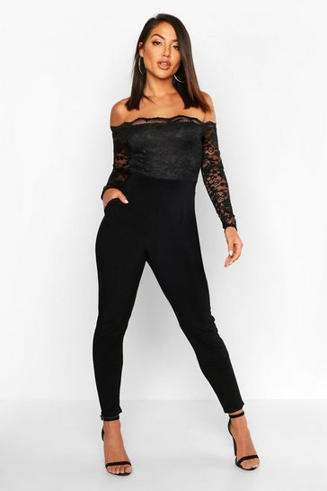 Black Scallop Lace Off The Shoulder Jumpsuit