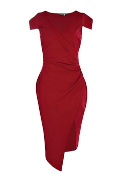 Berry Cap Sleeve Wrap Midi Dress