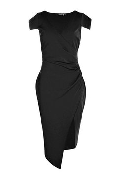 Black Cap Sleeve Wrap Midi Dress
