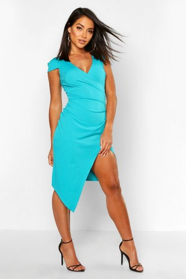 Jade green Cap Sleeve Wrap Midi Dress
