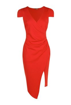 Red Cap Sleeve Wrap Midi Dress