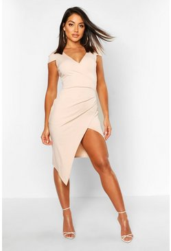Stone beige Cap Sleeve Wrap Midi Dress