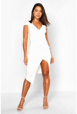 White Cap Sleeve Wrap Midi Dress