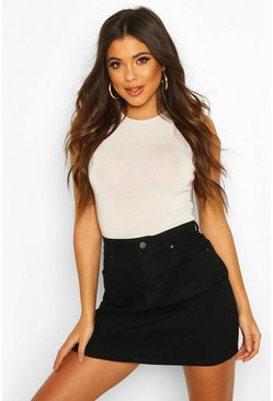Black Western Style Denim Mini Skirt