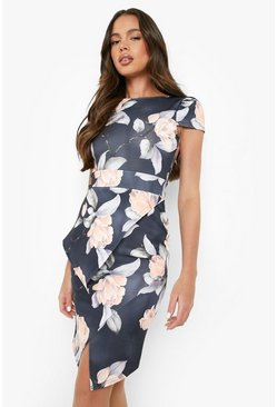 Multi Asymmetric Peplum Floral Print Midi Dress