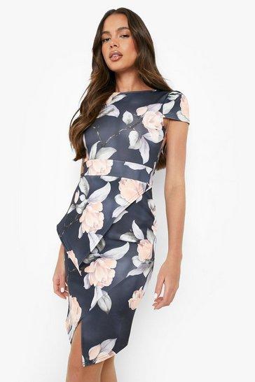 Multi Asymmetric Peplum Floral Print Midi Dress