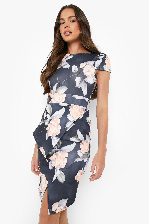 Asymmetric Peplum Floral Print Midi Dress Boohoo Uk