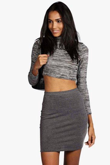 Charcoal grey Tall  Basic Mini Skirt