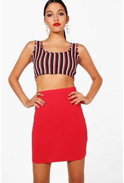 Red Tall  Basic Mini Skirt