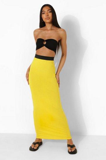 Yellow Tall Jersey Basic Contrast Waistband Maxi Skirt