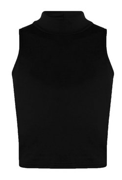 Black Tall  High Neck Crop Top