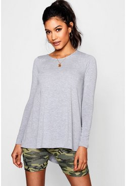 Grey Tall Long Sleeve Basic Swing Tee