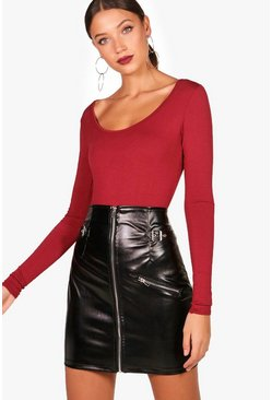 Wine red Tall Long Sleeve Basic Bodysuit