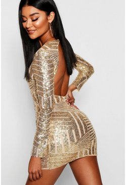 Goud metallic Boutique Bodycon Jurk Met Pailletten En Open Rug