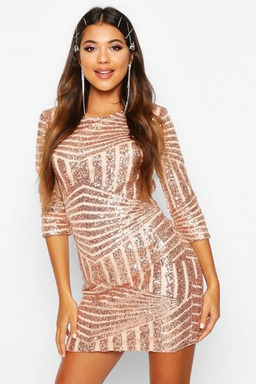 Rose gold metallic Boutique  Sequin Bodycon Dress