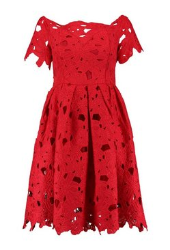 Red Boutique Off Shoulder Lace Skater Dress