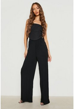 Rust Basic Pin Tuck Soft Tailored Wide Leg Trousers