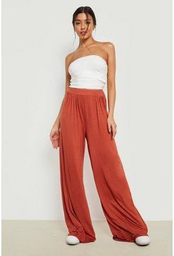 Rust orange Basic Pin Tuck Soft Tailored Wide Leg Trousers