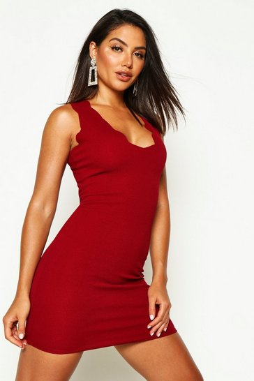 Berry red Scalloped Edge Bodycon Dress