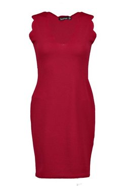 Berry Scalloped Edge Bodycon Dress