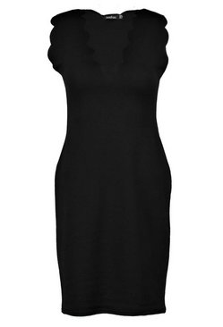 Black Scalloped Edge Bodycon Dress