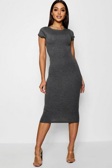 Charcoal Cap Sleeve Jersey Bodycon Midi Dress